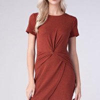 Twist Dress Brick