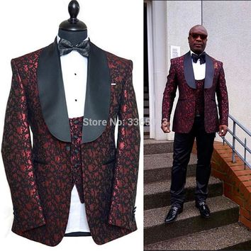 Terno Masculino New Arrival 2018 Men Suits Custom Tailor Made Burgundy Black 3 Pieces Set Tuxedo Groomsman Wedding Suits For Men