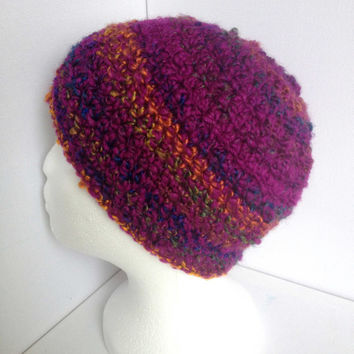 Purple Beanie, Ladies Crochet Hat, Rainbow Stripe, Winter Hat, Thick and Cosy, Super Soft, Girls Purple Cap, Purple Sparkle Hat, Handmade