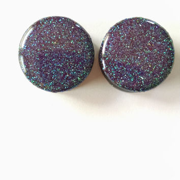 "Purple Rain Glitter Plugs - 1"" Tunnels Gauges Prince Green Purple Blue Sale Clearance"