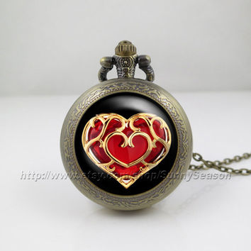 legend of zelda Pocket Watch,zelda heart container Pendant Necklace, life Zelda heart container Locket necklace,Pocket Watch,Red