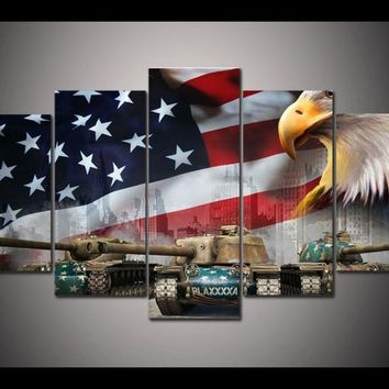 5 Pieces World Of Tanks Tank Eagles USA Flag Modern Home Wall Decor Canvas Picture Art HD Print Painting On Canvas Artworks