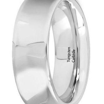 CERTIFIED 8mm Mens Tungsten Carbide Rings Wedding Bands Concave Polished Finish
