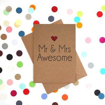 Mr and Mrs Awesome Funny Happy Wedding Day Card Getting Married Card Engagement Card FREE SHIPPING
