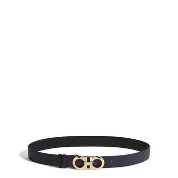 NEW SALVATORE FERRAGAMO WOMENS ADJUSTABLE AND REVERSIBLE GANCINI BELT