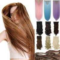 "Real full head clip in on hair extensions straight 26"" 66CM 8PCS/SET 100% Great Quality Hair Black Brown Red"