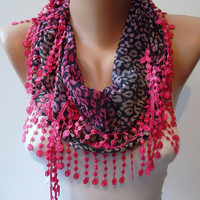 Leopard and Pink Elegance Shawl / Scarf with Lace by SwedishShop