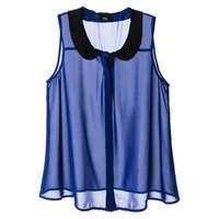Mossimo® Women's Peter Pan Collar Sleeveless Blouse -Blue