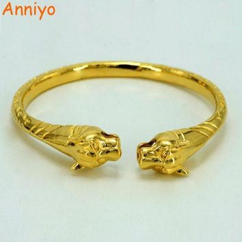 ac spbest Anniyo African Leopard Bangles Women/Men Charm African Gold Color Jewelry Ethiopian Animal Panther Bracelets Nice Gift #005610