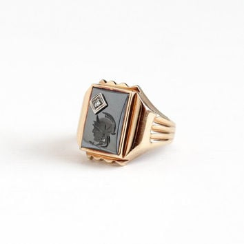 Vintage 10k Rosy Yellow Gold Roman Warrior Hematite Intaglio Diamond Ring - Size 10 Men's Art Deco 1940s Carved Cameo Gemstone Fine Jewelry