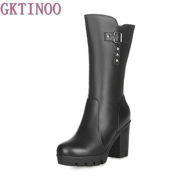 Women's Shoes Warm Wool Genuine Leather Women Snow Boot High Heels Mid-Calf Boots Women Winter Shoes