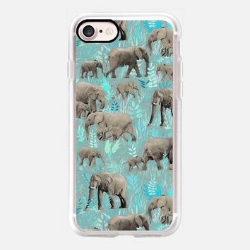 Cute Little Elephants in Teal iPhone 7 Case by Micklyn Le Feuvre | Casetify
