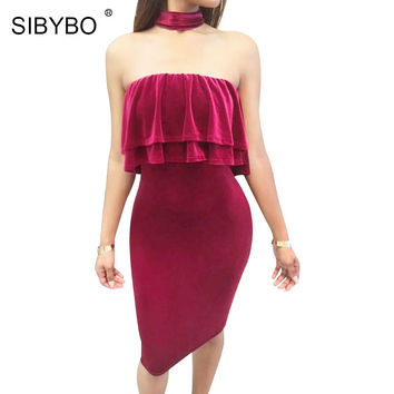 Sibybo Velvet Party Dresses 2017 Vestidos New Arrival Off The Shoulder Autumn Winter Christmas Sexy Club Bodycon Bandage Dresses