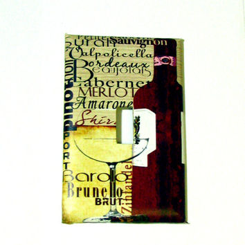 Light Switch Cover - Light Switch Plate Red Wine Kitchen Decor