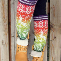 Knit wool leg warmers in traditional nordic ornament  in rainbow color