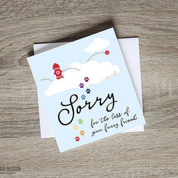 Pet Sympathy Printable Greeting Card | Dog Loss Greeting Card | Pet Condolences Card | Loss Of Dog Rainbow Bridge  | Dog Bereavement Card