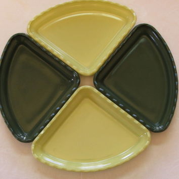 Vintage Green Milk Glass Relish Dishes