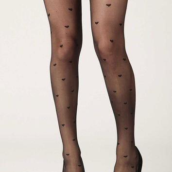 Black Hearts Sheer Tights