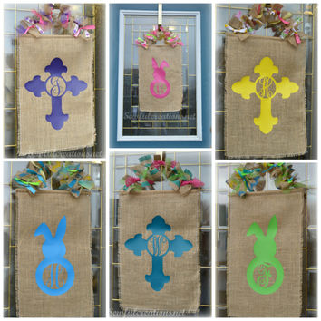 Cross door hanger, Personalized door hanger, Bunny door hanger, Burlap cross door hanger, cross wall hanging, spring door hanger