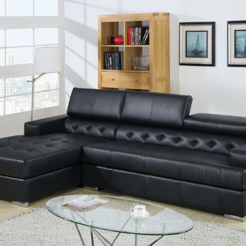 Furniture of america CM6122BK 2 pc Floria black bonded leather sectional sofa with adjustable headrests