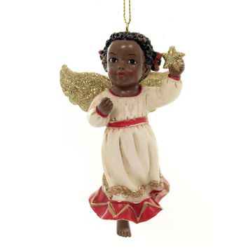 Holiday Ornaments AFRICAN AMERICAN ANGEL. Christmas Black Child E0346 Star