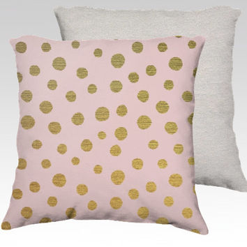 GOLDEN dots and  pink - throw pillow // #gold #glitter #pink #throw #dots #pillow #bedding #cute #girly