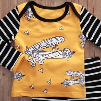 3pcs suit !!! Newborn Toddler Kids Baby Boys Girls Outfits Clothes plane printed Tops+striped Pants + hat autumn winter  Set