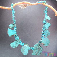 Large turquoise magnesite chunks strung with smaller turquoise pieces Necklace Gold Or Silver