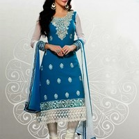 Amazing Ivory & Blue Embroidered & lace Work Suit - Salwar Kameez - Women