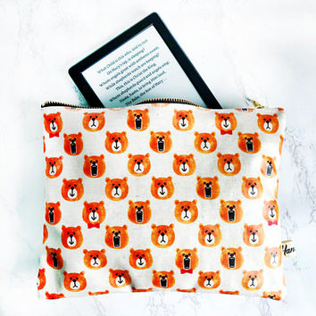 Zakka Bear Zipper Pouch,Cute Bear Kindle Sleeve Case, Waterproof Bear Clutch Bag, Bear Cosmetic Bag, Back to school Pouch, Bear Make Up Bag