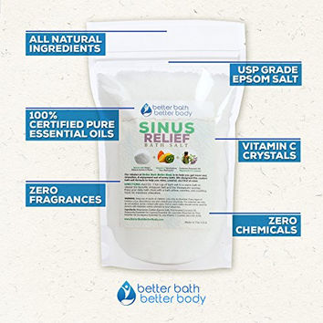 Sinus Relief Epsom Salt Bath Soak With Mint & Cypress Essential Oils & Vitamin C - 100% All Natural No Perfumes No Dyes - Breathe Easy & Relieve Sinus Head Cold Symptoms (3 Pounds)