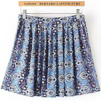 Blue Elastic Waist Floral Pleated Skirt