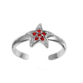 Sterling Silver Star 8MM  Toe Ring/ Knuckle/ Mid-Finger CZ Ruby CZ