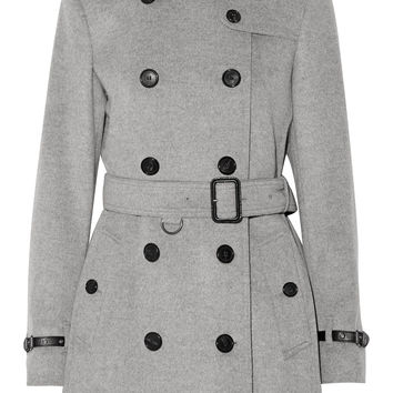 Burberry London - Leather-trimmed wool and cashmere-blend trench coat