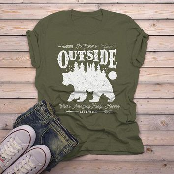 Men's Hipster Bear T Shirt Go Explore TShirt Camping Shirts Vintage Live Wild Graphic Tee
