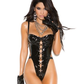 Vinyl Front Lace Up Teddy