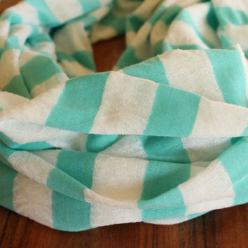 Mint Green and White Infinity Scarf, Mint Green Striped Scarf, Knit Scarf, Summer Scarf
