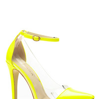Liliana Yellow Pointed Toe Ankle Strap Vinyl Heels