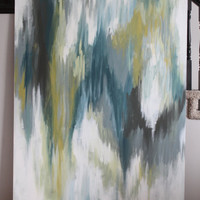 Absolutely Huge--Abstract Painting. Ikat inspired. Green, Turquoise, Gray, Chocolate, White, Navy