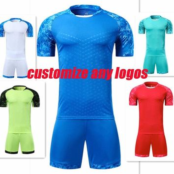 Men'plain football clothes men soccer jerseys adult blank trainning soccer kits sportswear sets can custom name and number