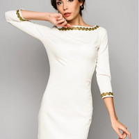 White dress. Pencil dress. Dress for woman. Autumn dress with long sleeves.