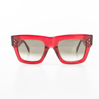 Clear Red Plastic Wayfarer Sunglasses with Case