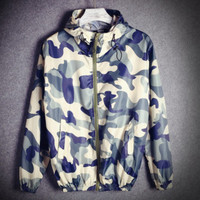 Fashion Unisex Lover's Supreme Sports Coat Windbreaker Camouflage Blue