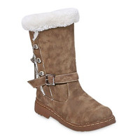 Suede Mid-Calf Boots With Criss-Cross and Buckle Design