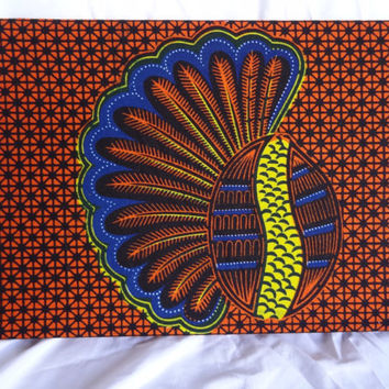 Conch Shell Congolese Textile Wall Art