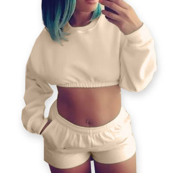 Fashion Solid Color Long Sleeve Cami Crop Pullover Shorts Set Two-Piece