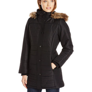 Weathertamer Women's Mid-Length Puffer Coat with Faux Fur-Trimmed Hood Black