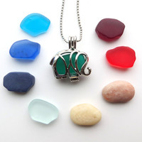 Sea Glass Elelphant Locket Colorful Collection Pearls