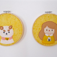 Bee and Puppycat Felt Wall Art Set