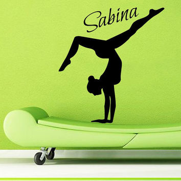 Sport Wall Decals Girl Gymnast Personalized Name Gym Interior Design Vinyl Decal Sticker Home Art Mural Kids Nursery Baby Room Decor KG783